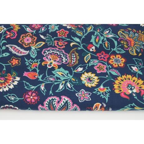 Dzianina dresówka drapana w kolorowe kwiaty na granatowym tle