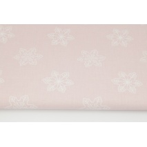 Cotton 100% large snowflakes on a powder pink background
