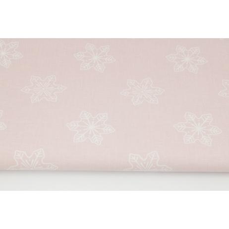 Bawełna 100% duże płatki śniegu na pudrowym różu