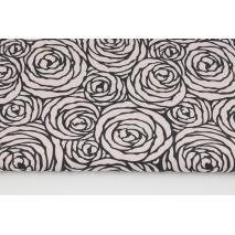 Bawełna 100% czarne róże na pudrowym różu