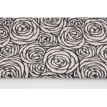 Cotton 100% black roses on a powder pink background