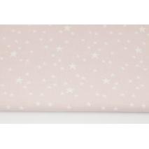Bawełna 100% nieregularne gwiazdki białe na pudrowym różu