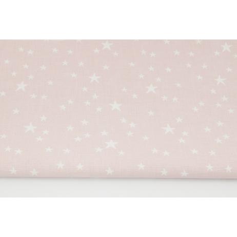 Cotton 100% irregular white stars on a powder pink background