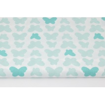 Cotton 100% mint-turquoise butterflies on a white background