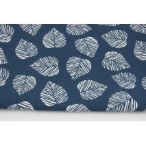 Tkanina dekoracyjna, liście na granatowym tle 160g/m2