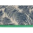 Tkanina dekoracyjna, granatowe liście palmowe na lnianym tle 187g/m2
