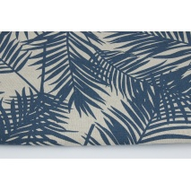 Decorative fabric, navy palm leaves on a linen background 187g/m2