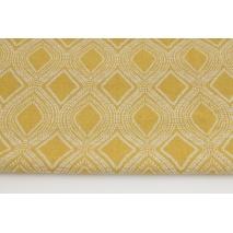Tkanina dekoracyjna, ornament musztardowy 187g/m2