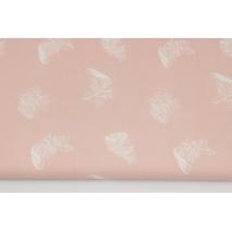 Bawełna 100% białe piórka na różu weneckim