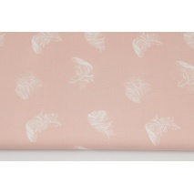 Cotton 100% white feathers on a Venice pink background