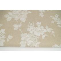 Tkanina dekoracyjna, białe róże na lnianym tle 187g/m2