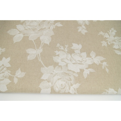 Decorative fabric, white roses on a linen background 187g/m2