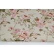 Tkanina dekoracyjna, angielskie róże na lnianym tle 187g/m2