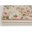 Decorative fabric, english roses on a linen background 187g/m2