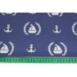 Tkanina dekoracyjna, żaglówki, kotwice na jasnogranatowym tle 187g/m2
