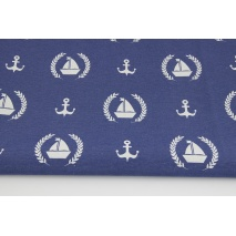 Decorative fabric, sailboats, anchors on a light navy background 187g/m2