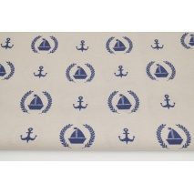 Decorative fabric, sailboats, anchors on a beige background 187g/m2