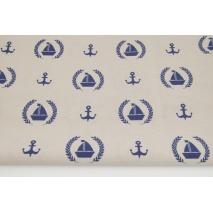 Tkanina dekoracyjna, żaglówki, kotwice na beżowym tle 187g/m2