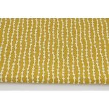 Tkanina dekoracyjna, koraliki na musztardowym tle 160g/m2