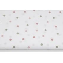 Bawełna 100% różowe, zielone kropki na białym tle