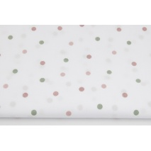 Cotton 100% pink, green dots on a white background