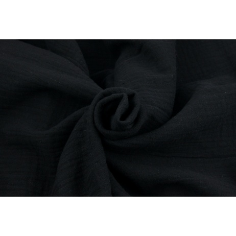 Double gauze 100% cotton plain black