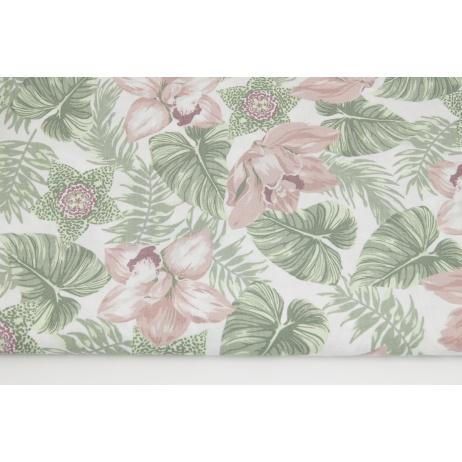 Bawełna 100% tropikalne kwiaty różowo-zielone na białym tle