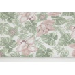 Cotton 100% tropical flowers pink-green on a white background