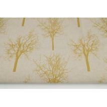Tkanina dekoracyjna, musztardowe drzewa na lnianym tle 187g/m2