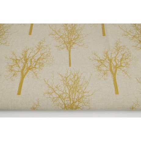 Decorative fabric, mustard trees on a linen background 187g/m2