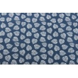 Decorative fabric, leaves on a navy background 160g/m2