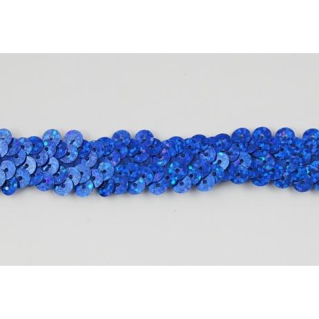 Sequin ribbon blue 20mm, elastic (hologram)