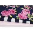 Viscose 100% pink roses on a dark blue background