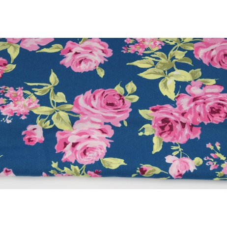 Viscose 100% pink roses on a dark blue background