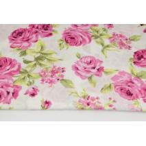 Wiskoza 100% różowe róże na kremowym tle