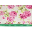 Viscose 100% pink roses on a cream background