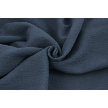 Double gauze 100% cotton plain subdued navy