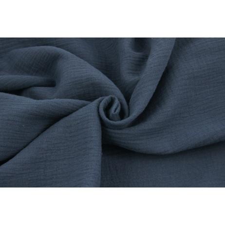Double gauze 100% cotton plain subdued navy