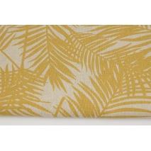 Tkanina dekoracyjna, musztardowe liście palmowe na lnianym tle 187g/m2