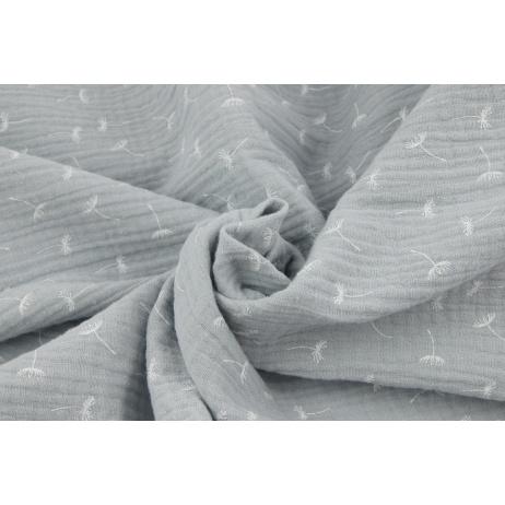 Muślin bawełniany, małe dmuchawce na jasnoszarym tle