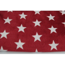 Polar fleece double sided white stars on a burgundy background