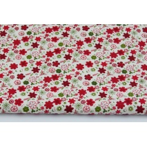 Cotton 100% burgundy, green small flowers on a creamy background