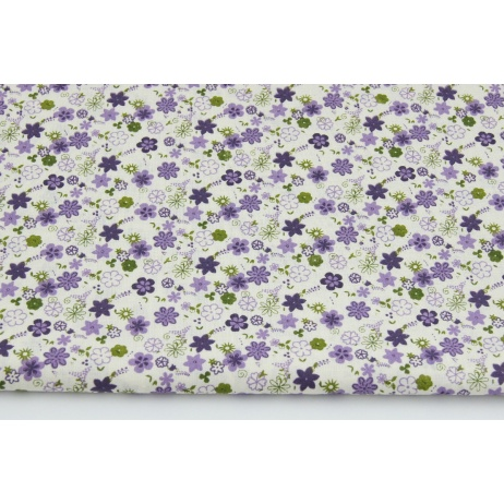 Cotton 100% purple, green small flowers on a creamy background