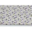 Bawełna 100% fioletowe, zielone drobne kwiatki na kremowym tle