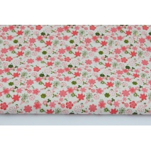 Cotton 100% coral, green tiny flowers on a creamy background