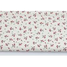 Bawełna 100% bordowe pączki kwiatów na kremowym tle