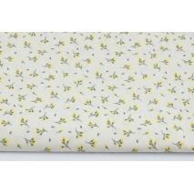 Bawełna 100% żółte pączki kwiatów na kremowym tle