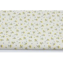 Cotton 100% yellow flower buds on a creamy background
