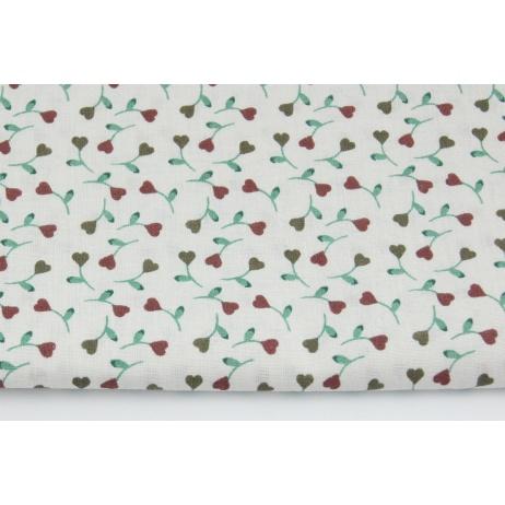 Bawełna 100% bordowe małe serduszka z łodyżkami na jasnym tle