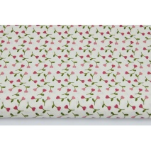 Bawełna 100% różowe małe serduszka z łodyżkami na kremowym tle